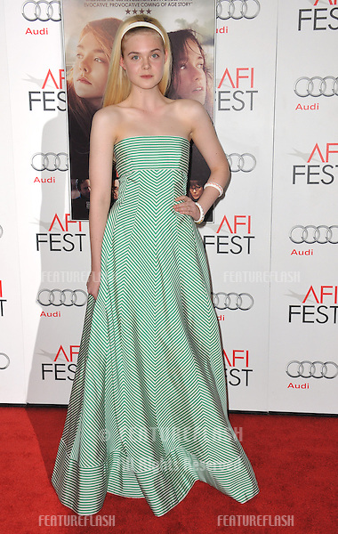 "Elle Fanning at the AFI Fest 2012 premiere of her movie ""Ginger and Rosa"" at Grauman's Chinese Theatre, Hollywood..November 7, 2012  Los Angeles, CA.Picture: Paul Smith / Featureflash"