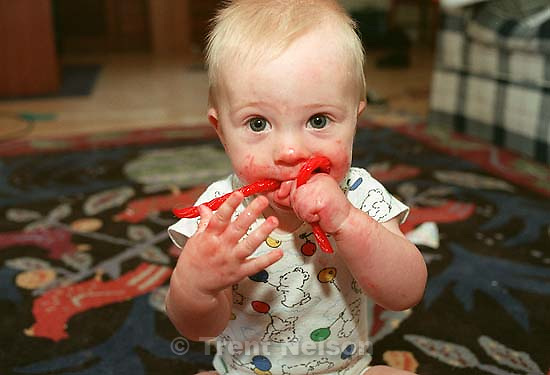Nathaniel Nelson eating licorice.<br />
