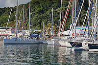 Yacht backing into dock in Raiatea