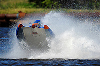 Frame 5: #42 rides up and over the roostertail of leader R.J. West, (#93) during the final heat.   (SST-45 class)