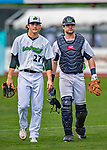 21 July 2019: Vermont Lake Monsters pitcher Tyler Baum (left) and catcher Kyle McCann head to the dugout after warm-ups prior to a game against the Tri-City ValleyCats at Centennial Field in Burlington, Vermont. The Lake Monsters rallied to defeat the ValleyCats 6-3 in NY Penn League play. Mandatory Credit: Ed Wolfstein Photo *** RAW (NEF) Image File Available ***