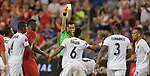 Kevin Galvan (6) of Panama receives a yellow card during their Gold Cup match against the USA on June 26, 2019 at Children's Mercy Park in Kansas City, KS.<br /> Tim VIZER/AFP
