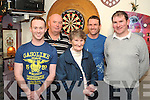 BULLSEYE: Pictured at the 12th annual Rickie Granville Memorial Darts match played in memory of the late Rickie Granville in the Atlantic Bar, Kenmare, on Wednesday, December 26th, were l-r: Jason Sheehan, Garry McCormac, Sarah Granville, Connie Cremin (winner) and John Granville, raising ?500 for the St Vincent de Paul Society.