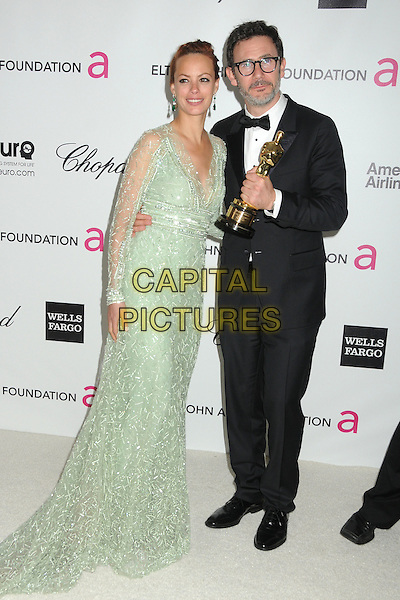 Berenice Bejo, Michel Hazanavicius.20th Annual Elton John Academy Awards Viewing Party held at West Hollywood Park, West Hollywood, California, USA..February 26th, 2012.oscars full length dress green lace black tuxedo glasses award trophy winner .CAP/ADM/BP.©Byron Purvis/AdMedia/Capital Pictures.