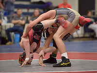 NWA Democrat-Gazette/BEN GOFF @NWABENGOFF<br /> Cash Jones (right) of Bentonville and Logan Sloss of Russellville compete in the 145 weight class final Saturday, Feb. 11, 2017, during the Big West Conference wrestling tournament at Wolverine Arena in Centerton. Jones won the match.
