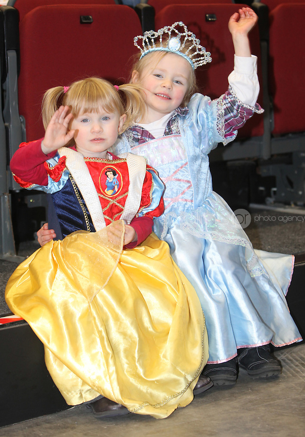 ***** NO FEE PIC*****.26/12/2010.(L to R).Molly Nealon (2) from London & Niamh Molloy (5) from Navan.during  Disney On Ice : 100 Years of Magic at the Citywest Hotel , Dublin..Disney on Ice runs from 26th December till the 2nd January 2011 with tickets available from Ticketmaster & Box Offices for all shows. .Photo: Gareth Chaney Collins