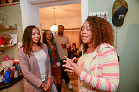 Sterling Overton-Crawford (right) of Fredericksburg, Virginia speaks about her newly found sister Sally Armstrong (left) of Dallas, Texas Saturday, May 19, 2018 in Philadelphia, Pennsylvania. Sally Armstrong used a 23andMe Health + Ancestry kit to find her four half siblings. She met them for the first time Friday. (Photo by William Thomas Cain/CAIN IMAGES)