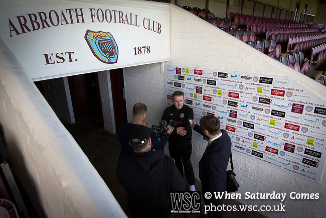 Arbroath 0 Edinburgh City 1, 15/03/2017. Gayfield Park, SPFL League 2. Visiting manager Gary Jardine talks to the media at Gayfield Park as Arbroath hosted Edinburgh City (in yellow) in an SPFL League 2 fixture. The newly-promoted side from the Capital were looking to secure their place in SPFL League 2 after promotion from the Lowland League the previous season. They won the match 1-0 with an injury time goal watched by 775 spectators to keep them 4 points clear of bottom spot with three further games to play. Photo by Colin McPherson.