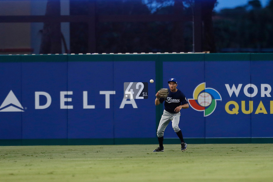20 September 2012: Joris Bert eyes the ball during Spain 8-0 win over France, at the 2012 World Baseball Classic Qualifier round, in Jupiter, Florida, USA.
