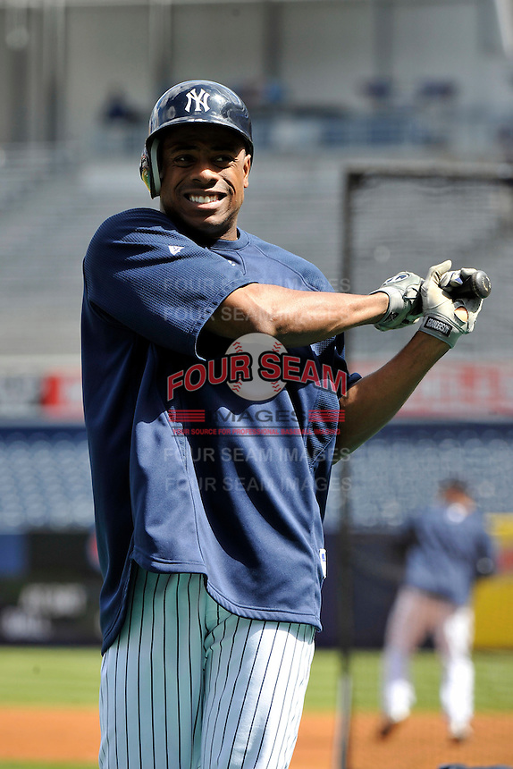 Apr 02, 2011; Bronx, NY, USA; New York Yankees outfielder Curtis Granderson (14) before game against the Detroit Tigers at Yankee Stadium. Yankees defeated the Tigers 10-6. Mandatory Credit: Tomasso De Rosa