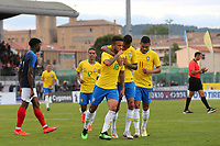 Matheus Henrique celebrates scoring Brazil's second goal during France Under-18 vs Brazil Under-20, Tournoi Maurice Revello Football at Stade d'Honneur Marcel Roustan on 5th June 2019