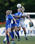 Rebekah McDowell (20), Ragnhild Gulbrandsen (9), and Anne Makinen (7) at Nickerson Field in Boston MA on 7/13/03 during a game between the Boston Breakers and Philadelphia Charge. The Breakers won 3-1.