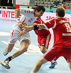 21.01.2013 Barcelona, Spain. IHF men's world championship, Eighth Final. Picture show Lijewiski  in action during game Hungary vs Poland at Palau St Jordi