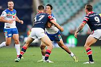 Issac Luke takes the ball up. Sydney Roosters v Vodafone Warriors, NRL Rugby League. Allianz Stadium, Sydney, Australia. 31st March 2018. Copyright Photo: David Neilson / www.photosport.nz