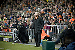 Blackpool 2 Liverpool 1, 12/01/2011. Bloomfield Road, Premier League. Blackpool FC manager Ian Holloway smiling at his players from the side of the pitch at his club's Bloomfield Road stadium during the match against Liverpool FC in the Premier League. The home side won by two goals to one in front of a crowd of 16,089. It was the first time the clubs had met in a league match since Blackpool were last in the top division of English football in 1970-71. Photo by Colin McPherson.