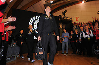 Casey Williams leads the Silver Ferns out. International Netball  - New Zealand Silver Ferns v Australian Diamonds Constellation Cup match at Arena Manawatu, Palmerston North, New Zealand on Thursday, 9 June 2011. Photo: Dave Lintott / lintottphoto.co.nz