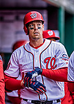 15 April 2018: Washington Nationals catcher Matt Wieters returns to the dugout after hitting a solo home run in the 6th inning against the Colorado Rockies at Nationals Park in Washington, DC. All MLB players wore Number 42 to commemorate the life of Jackie Robinson and to celebrate Black Heritage Day in pro baseball. The Rockies edged out the Nationals 6-5 to take the final game of their 4-game series. Mandatory Credit: Ed Wolfstein Photo *** RAW (NEF) Image File Available ***