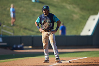 Jonathan Laureano (23) of the Lynchburg Hillcats stands on third base during the game against the Winston-Salem Rayados at BB&T Ballpark on June 23, 2019 in Winston-Salem, North Carolina. The Hillcats defeated the Rayados 12-9 in 11 innings. (Brian Westerholt/Four Seam Images)