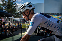 white jersey / best young rider Egan Bernal (COL/Ineos Grenadiers) backstage behind the finish podium<br /> <br /> Stage 11 from Châtelaillon-Plage to Poitiers (168km)<br /> <br /> 107th Tour de France 2020 (2.UWT)<br /> (the 'postponed edition' held in september)<br /> <br /> ©kramon