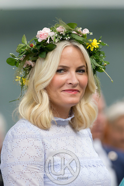 TRONDHEIM, NORWAY - JUNE 23:  Crown Princess Mette-Marit of Norway attends a Garden Party at the Royal Residence, Stiftsgarden,  on a visit to Trondheim, during the King and Queen of Norway's Silver Jubilee Tour, on June 23, 2016 in Trondheim, Norway.