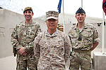 Mcc0053988 . Daily Telegraph<br /> <br /> DT News<br /> <br /> left to right Cmdr TFH Brigadier Woodham, Cmdr Gen RC South West Brigadier General Yoo and Brig Robert Thomson after the official handover ceremony which took place in Camp Bastion of Task Force Helmand to Nato command signalling the end of British combat operations in Afghanistan .<br /> <br /> Helmand 30 March 2014