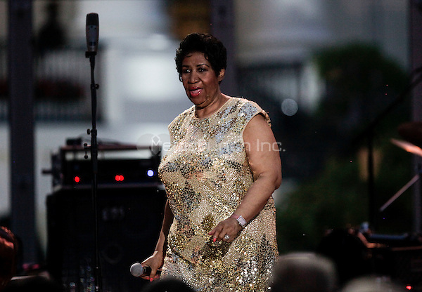 Herbie Hancock (unseen) and Aretha Franklin perform at the International Jazz Day Concert on the South Lawn of the White House, in Washington, DC, April 29, 2016. United States President Barack Obama delivered remarks to introduce the event. <br /> Credit: Aude Guerrucci / Pool via CNP/MediaPunch