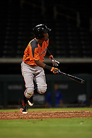 AZL Giants Orange Marco Luciano (10) hits a double during an Arizona League game against the AZL Cubs 1 on July 10, 2019 at Sloan Park in Mesa, Arizona. The AZL Giants Orange defeated the AZL Cubs 1 13-8. (Zachary Lucy/Four Seam Images)