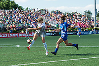 Boston, MA - Saturday June 24, 2017: Abby Dahlkemper and Angela Salem during a regular season National Women's Soccer League (NWSL) match between the Boston Breakers and the North Carolina Courage at Jordan Field.