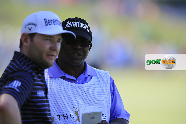 Branden Grace (RSA) and caddy Zach during round 1of the Players, TPC Sawgrass, Championship Way, Ponte Vedra Beach, FL 32082, USA. 12/05/2016.<br /> Picture: Golffile | Fran Caffrey<br /> <br /> <br /> All photo usage must carry mandatory copyright credit (&copy; Golffile | Fran Caffrey)