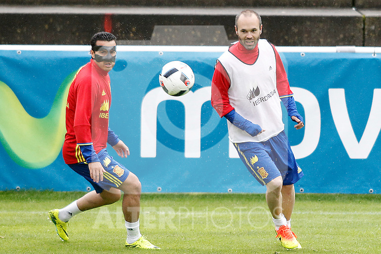 Spain's Pedro Rodriguez (l) and Andres Iniesta during preparing training stage to Euro 2016. May 30,2016.(ALTERPHOTOS/Acero)