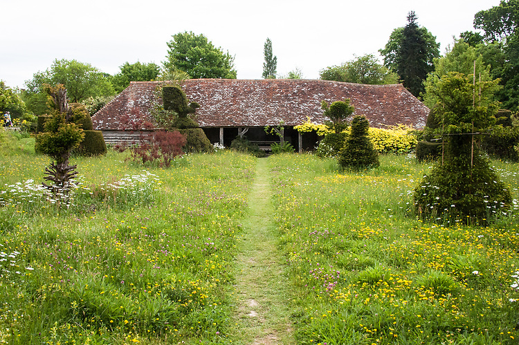 The Hovel, Great Dixter, from the Topiary Lawn meadow, late May.