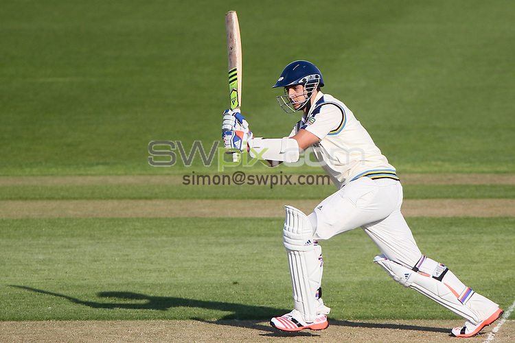 Picture by Alex Whitehead/SWpix.com - 07/04/2015 - Cricket - Yorkshire CCC v Leeds/Bradford MCCU - Day 1 - Headingley Stadium, Leeds, England - Yorkshire's Jack Brooks hits out.