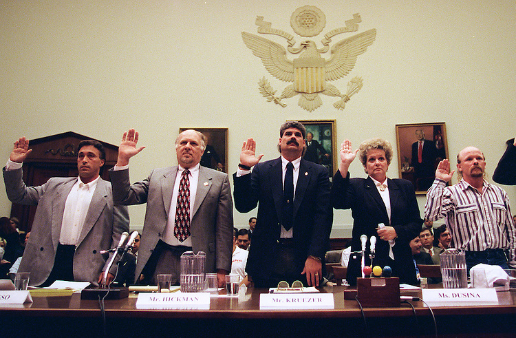10-14-97.TEAMSTER ELECTION HEARINGS--Dane Passo,Teamsters member,Vince Hickman Teamsters International Representative,Bob Kruezer Teamsters International Project Organizer,Barb Dusina Teamsters organizer and Wesley Coleman Teamsters member are sworn in during the Oversight and Investigations Subcommittee hearings to analyze the cost of the 1996 teamsters elections and the effects of illegal campaign contributions..CONGRESSIONAL QUARTERLY PHOTO BY DOUGLAS GRAHAM