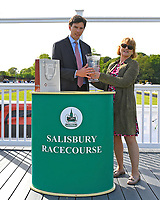 Connections of Tamreer receive their trophy for winning  The Smith & Williamson Fillies' Novice Stakes (Class 5))   during Afternoon Racing at Salisbury Racecourse on 17th May 2018