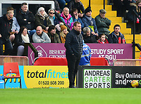 Mansfield Town manager David Flitcroft shouts instructions to his team from the technical area<br /> <br /> Photographer Andrew Vaughan/CameraSport<br /> <br /> The EFL Sky Bet League Two - Lincoln City v Mansfield Town - Saturday 24th November 2018 - Sincil Bank - Lincoln<br /> <br /> World Copyright &copy; 2018 CameraSport. All rights reserved. 43 Linden Ave. Countesthorpe. Leicester. England. LE8 5PG - Tel: +44 (0) 116 277 4147 - admin@camerasport.com - www.camerasport.com