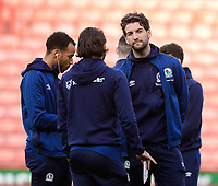 Blackburn Rovers' Charlie Mulgrew, right, talks to team-mates Elliott Bennett, left, and Bradley Dack<br /> <br /> Photographer Chris Vaughan/CameraSport<br /> <br /> The EFL Sky Bet Championship - Sheffield United v Blackburn Rovers - Saturday 29th December 2018 - Bramall Lane - Sheffield<br /> <br /> World Copyright © 2018 CameraSport. All rights reserved. 43 Linden Ave. Countesthorpe. Leicester. England. LE8 5PG - Tel: +44 (0) 116 277 4147 - admin@camerasport.com - www.camerasport.com