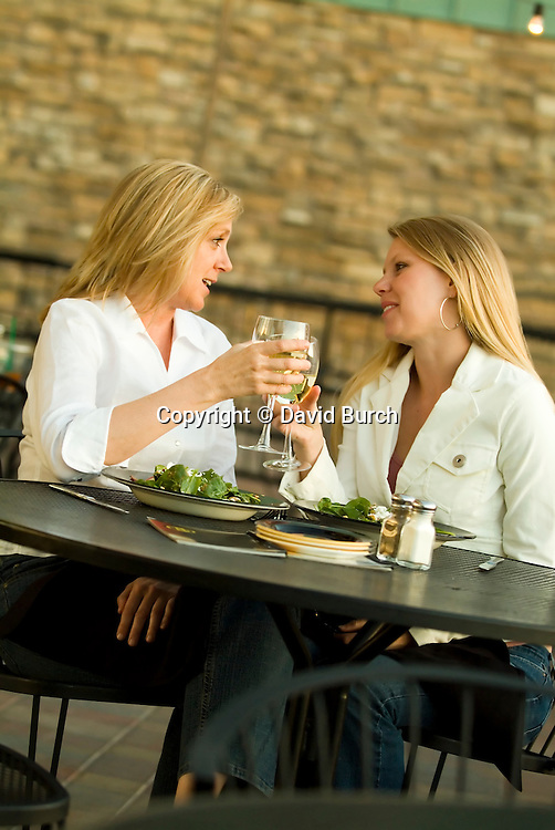 Mother and daughter toasting with wine over lunch