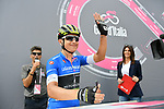 Esteban Chaves (COL) Mitchelton-Scott in the Mountains Maglia Azzurra at sign on before the start of Stage 9 of the 2018 Giro d'Italia, running 225km from Pesco Sannita to Gran Sasso d'Italia (Campo Imperatore), this year's Montagna Pantani, Italy. 13th May 2018.<br /> Picture: LaPresse/Gian Mattia D'Alberto | Cyclefile<br /> <br /> <br /> All photos usage must carry mandatory copyright credit (&copy; Cyclefile | LaPresse/Gian Mattia D'Alberto)