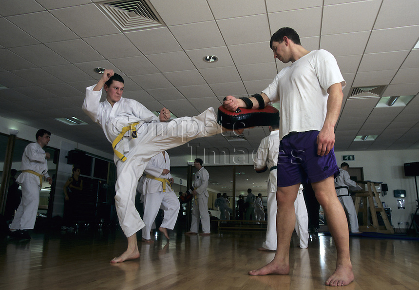 Judo practitioners practising their technique