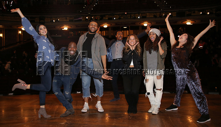 """Lauren Boyd, Justin Dine Bryant, Sean Green, J. Quinton Johnson, Elizabeth Judd, Sasha Hollinger and Lexi Garcia during the  #EduHam matinee performance Q & A for """"Hamilton"""" at the Richard Rodgers Theatre on 3/28/2018 in New York City."""