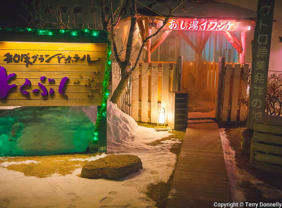Shiretoko Peninsula, Hokkaido Island, Japan<br /> Outdoor hot spring bath at Utoro village