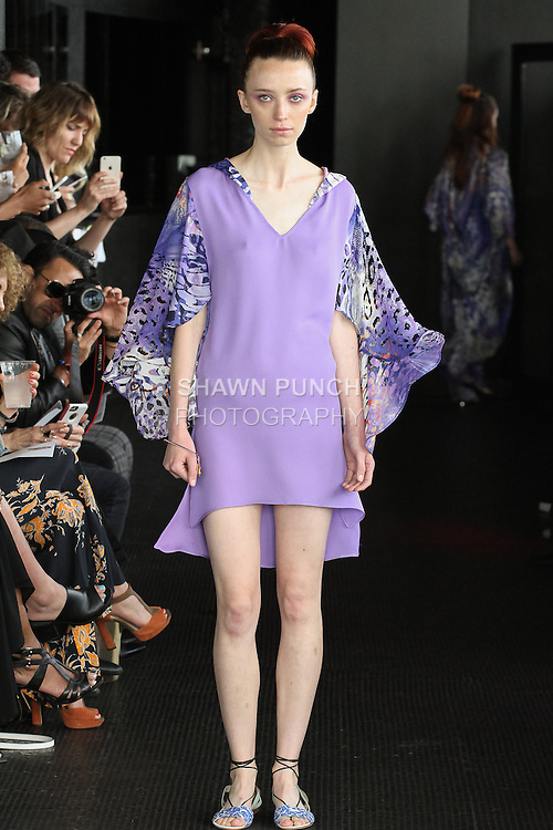 Sarah walks runway in a flutter sleeve hoody from the Carlton Jones Resort 2017 collection fashion show at Le Bain in The Standard Hotel in New York City, on June 8, 2017.