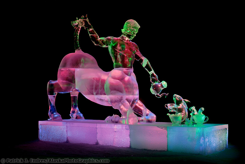 """""""Time for Tea"""" by Steve Brice, Aaron Costic, Heather Brown, Joan Brice.  2006 world ice art championships multiblock competition in Fairbanks, AK"""