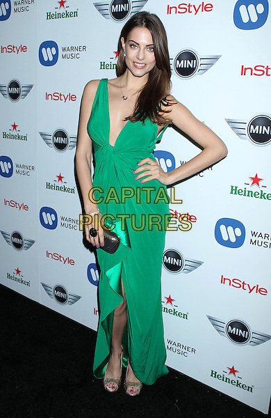 Julia Voth.Warner Music Group 2013 Grammy Celebration held at The Chateau Marmont, West Hollywood, California, USA..February 10th, 2013.full length green sleeveless dress clutch bag hand on hip.CAP/ADM/RE.©Russ Elliot/AdMedia/Capital Pictures.