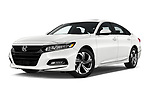 Stock pictures of low aggressive front three quarter view of a 2018 Honda Accord EX 4 Door Sedan
