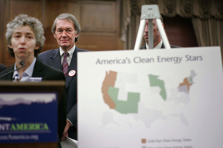 WASHINGTON, DC - Nov. 14: House Select Committee on Energy Independence and Global Warming Chairman Edward J. Markey, D-Mass., during a news conference with representatives of environmental groups on a report released by Environment America states' environmental policies. At left is Margie Alt, executive director of Environment America. (Photo by Scott J. Ferrell/Congressional Quarterly).