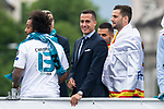 Real Madrid Marcelo, Lucas Vazquez and Nacho Fernandez during the celebration of the Thirteen Champions League at Cibeles Fountain in Madrid, Spain. May 27, 2018. (ALTERPHOTOS/Borja B.Hojas)