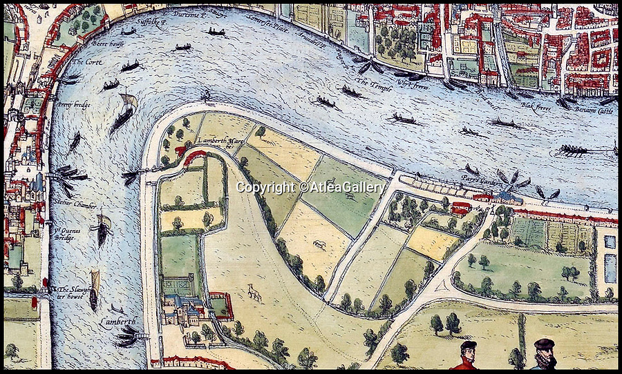 BNPS.co.uk (01202 558833)<br />Pic:  AtleaGallery/BNPS<br /> <br /> The map shows how sparsley populated the south of The Thames was.<br /> <br /> An extremely rare example of the earliest surviving map of London has emerged for sale for £11,000.<br /> <br /> The 1572 city plan by engraver Frans Hogenburg provides a fascinating bird's eye view of the nation's capital.<br /> <br /> It reveals there was a large settlement north of the Thames, but south of it was very sparsely populated.<br /> <br /> There are drawings of many boats weaving their way down the river, which could only be crossed by the Old London Bridge.