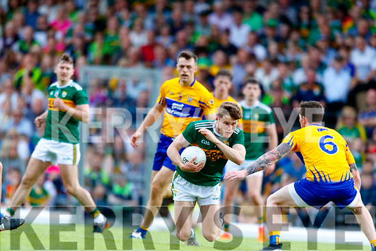 Gavin White Kerry in action against Aaron Fitzgerald Clare during the Munster GAA Football Senior Championship semi-final match between Kerry and Clare at Fitzgerald Stadium in Killarney on Sunday.