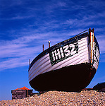 Inshore fishing boat on beach, Dunwich, Suffolk